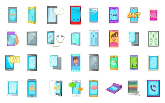 Set di elementi per smartphone. insieme del fumetto degli elementi di vettore di smartphone