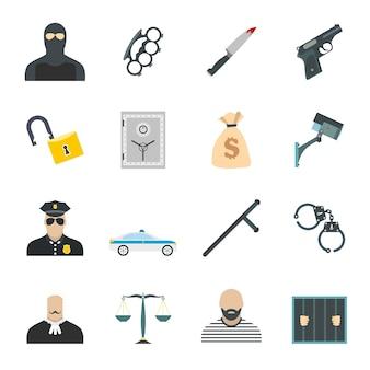 Set di elementi piatti del crimine per web e dispositivi mobili