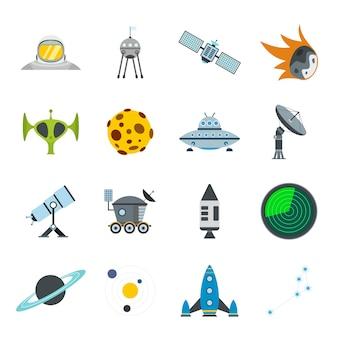 Set di elementi piatti dello spazio per web e dispositivi mobili