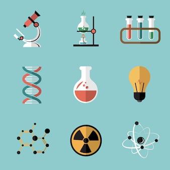 Set di elementi piatti di chimica scienza
