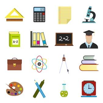 Set di elementi piatti di educazione per web e dispositivi mobili