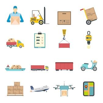 Set di elementi piatti di logistica
