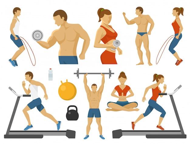 Set di elementi piatti fitness