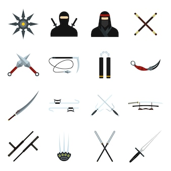 Set di elementi piatti ninja per web e dispositivi mobili