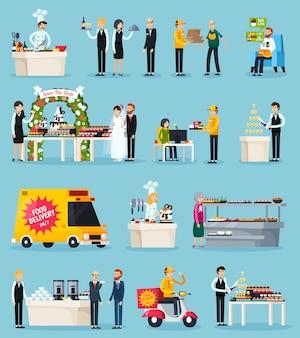 Set di elementi piatti ortogonali di catering