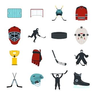 Set di elementi piatti per hockey per web e dispositivi mobili