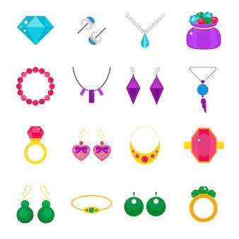 Set di elementi piatti vettoriali di gioielli