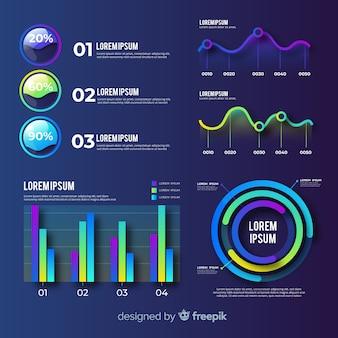 Set di elementi piatto infografica