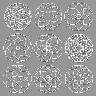Set di elementi rotondi ritagliati la carta per l'arabo