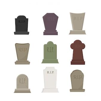 Set di elementi vettoriali per halloween, cimitero e tombe con lapidi, isolato su bianco