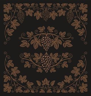 Set di elementi vintage di rami d'uva e bordi per la decorazione o il marchio di alcol sullo sfondo scuro.