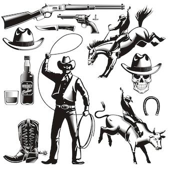 Set di elementi vintage rodeo