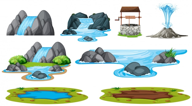 Set di elemento acqua isolato