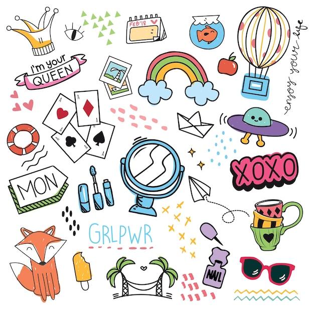 Set di elemento di design e icona in stile doodle