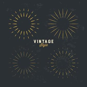 Set di elemento di design vintage sunburst oro