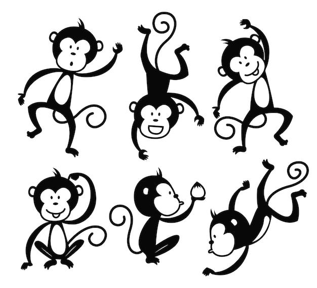 Set di elemento di vettore di scimmia del fumetto adatto per l'evento di capodanno cinese