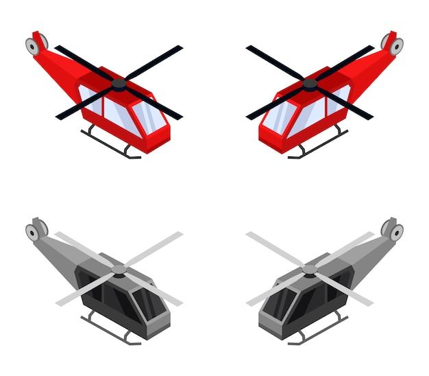 Set di elicotteri isometrici