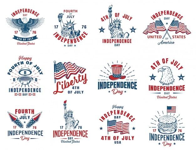 Set di emblema del 4 luglio