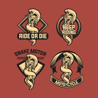 Set di emblema del motociclo pistone serpente
