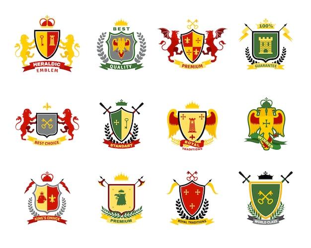 Set di emblemi araldici