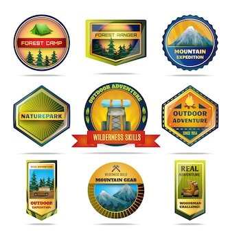 Set di emblemi campeggio