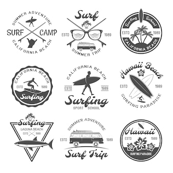 Set di emblemi da surf