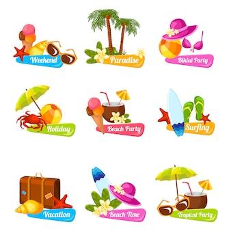 Set di emblemi della spiaggia
