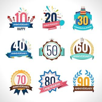 Set di emblemi di anniversario