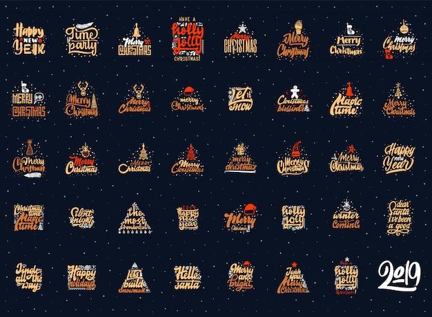 Set di emblemi di buon natale e felice anno nuovo.