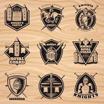 Set di emblemi di cavalieri vintage neri