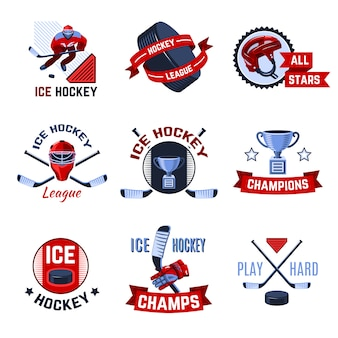 Set di emblemi di hockey