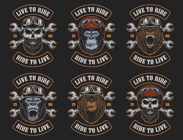 Set di emblemi di motociclisti