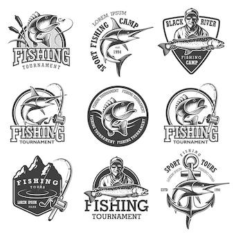 Set di emblemi di pesca vintage