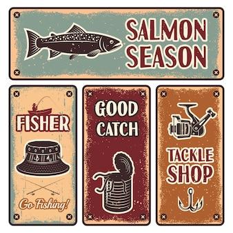 Set di emblemi di pesca