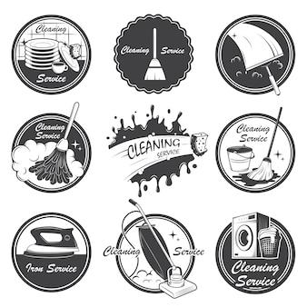 Set di emblemi di servizio di pulizia, etichette ed elementi progettati.