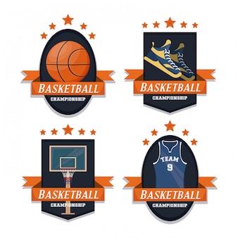 Set di emblemi di sport di pallacanestro