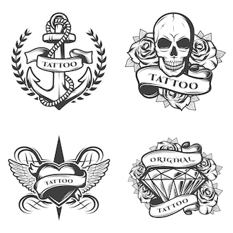 Set di emblemi di tattoo studio vintage