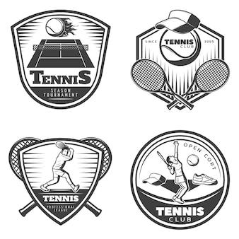 Set di emblemi di tennis vintage