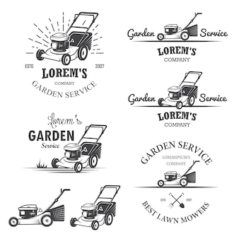 Set di emblemi, etichette, distintivi, loghi ed elementi progettati del servizio di giardinaggio vintage. stile monocromatico