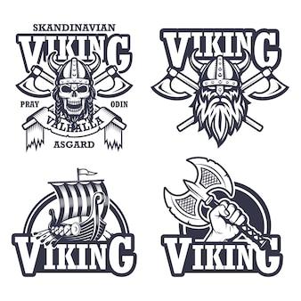Set di emblemi, etichette e loghi vichinghi. stile monocromatico