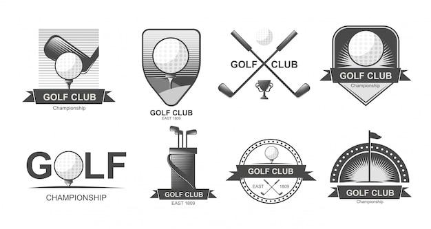Set di emblemi, etichette, stemmi o loghi di golf.