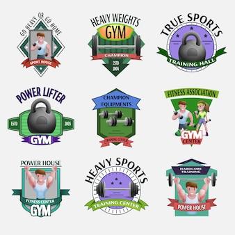 Set di emblemi fitness pesi pesanti