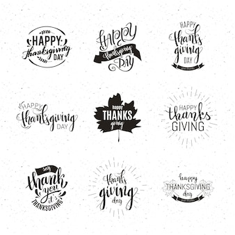 Set di emblemi happy thanksgiving