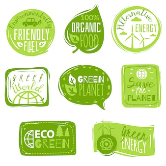 Set di emblemi icona piana di ecologia