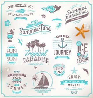 Set di emblemi, loghi e simboli di viaggi e vacanze