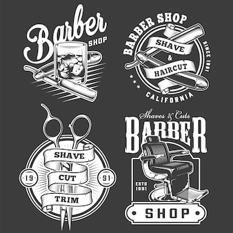 Set di emblemi monocromatici da barbiere