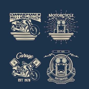 Set di emblemi monocromatici di moto