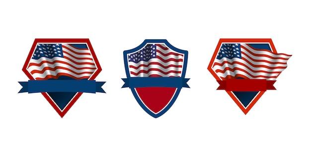 Set di emblemi patriottici con sventolando la bandiera degli stati uniti