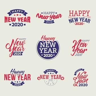 Set di emblemi tipografici di felice anno nuovo 2020
