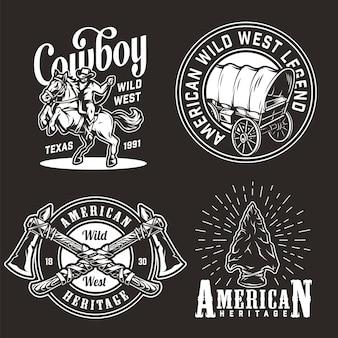 Set di emblemi vintage wild west
